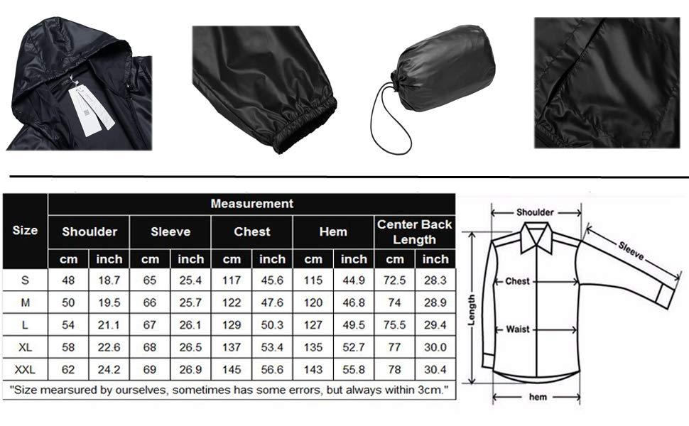 COOFANDY Men's Packable Rain Jacket Classic Cycling Waterproof Raincoat