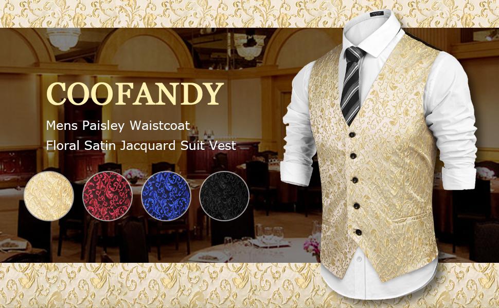 Date COOFANDY Mens Suit Vest Slim Fit Skinny Dress Waistcoat for Wedding Dinner