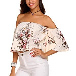 Summer Women's Short Sleeve Off Shoulder Tops Casual Shirt Blouses