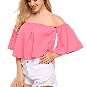 Women Short Sleeve Off Shoulder Blouse Casual Pleated Ruffle Blouse Top Shirt