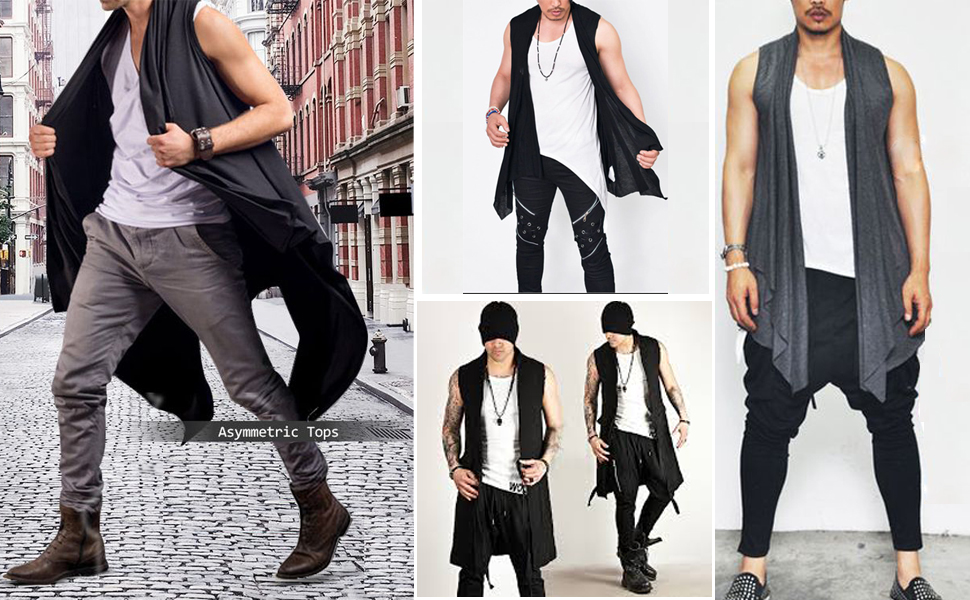 COOFANDY Men's Ruffle Shawl Collar Cardigan Open Front Vest Cotton Long Length Drape Cape