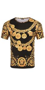 COOFANDY Men's Hipster Hip Hop T Shirt Luxury Graphic Printed Shirts Fashion Street Tee