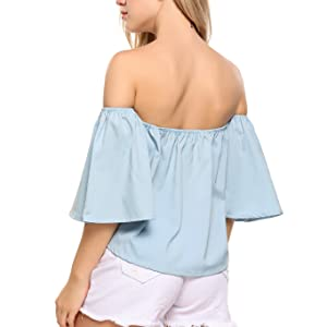 Women's Off Shoulder Ruffles Solid Casual Blouse Loose Tops