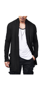 COOFANDY Men's Ruffle Shawl Collar Cardigan Premium Cotton Blend Long Length Drape Cape Overcoat