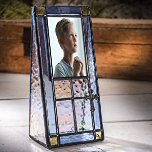 Cross blue stained glass picture frame