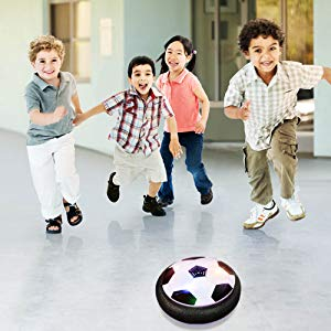 Children are playing this air hover soccer ball together!