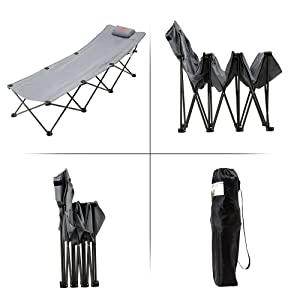 portable folding camping cot bed for car camping road trip hunting and fishing trips
