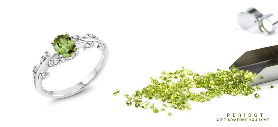 Gifts for WIfe Gifts for Her Lime Green Gemstone Christmas GIfts for Mom August Birthstone Peridot and Diamond 14K Yellow Gold Ring