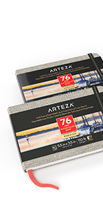 """Art Watercolor Book 5.1×8.3"""", 2 Pack (230g, 76 Pages Total)"""