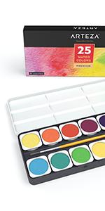 Watercolor Paint Set, 25 Vibrant Color Cakes