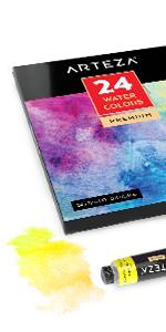 Watercolor Premium Artist Paints Set - 24 Colors (24 x 12 ml / 0.74 US fl oz)