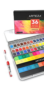 Watercolor Paint, Set of 36 Assorted Vibrant Colors in Half Pans