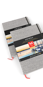 """Art Watercolor Book 8.3×11.7"""", 2 Pack (230g, 64 Pages Total)"""