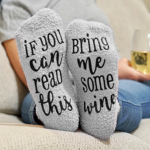 """The Funny Saying At The Bottom Of Our Wine Socks Women """"If You Can Read This, Bring Me Some Wine"""""""