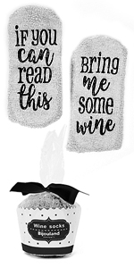gray grey fuzzy wine socks for him for her