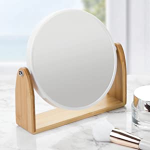 Fashionable Vanity Mirror with Bamboo Base