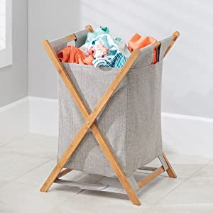 Mix natural bamboo with fabric for the perfect laundry room look