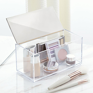 brushed box bin lid mirror makeup cosmetic vanity
