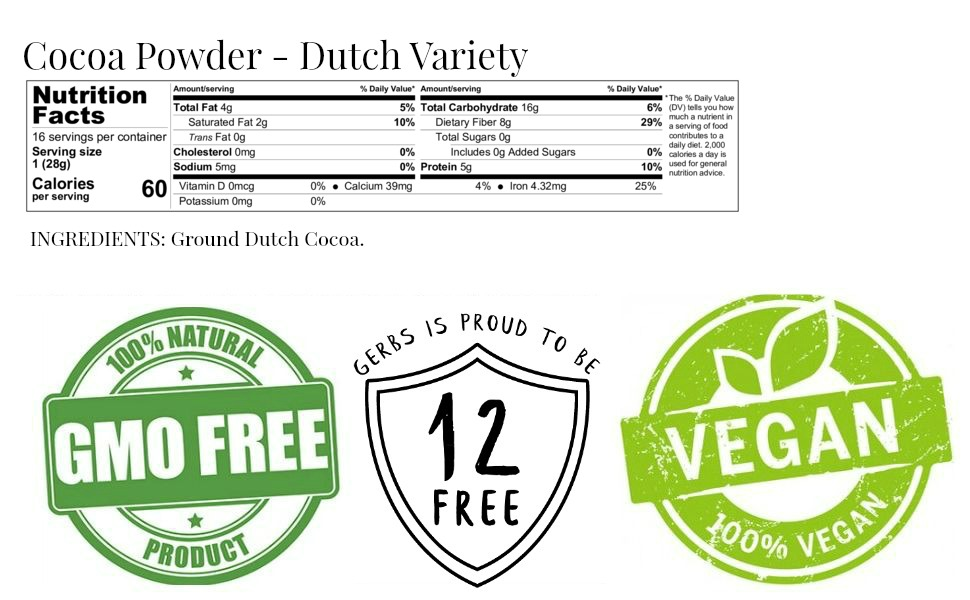 Gerbs organic dairy free dutch cocoa powder, 1 pound nutritional value and ingredients.