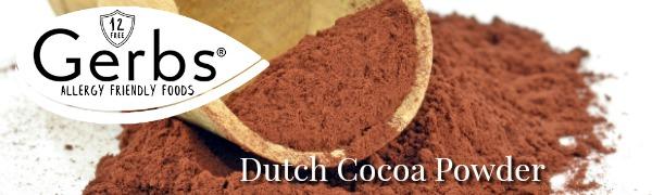 Gerbs dutch cocoa powder, top 12 food allergy free, non gmo, organic, and kosher.