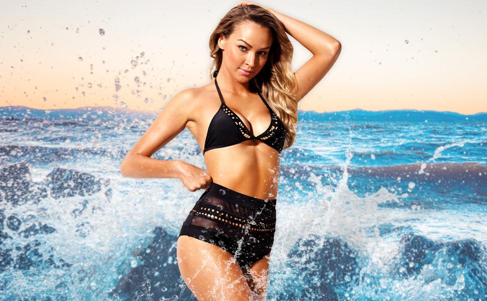 Womens High Waist Two Pieces Bikini Set Padded Stripe Tassel Swimsuit