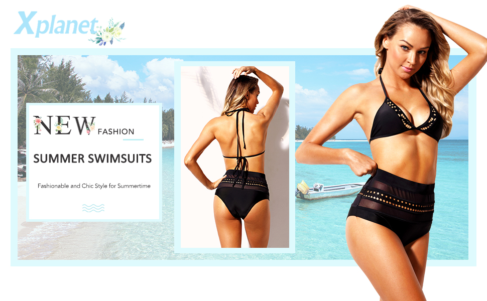 Women's Mesh Striped High Waist Bikini Set Tassel Trim Top Halter Straps Swimsuit