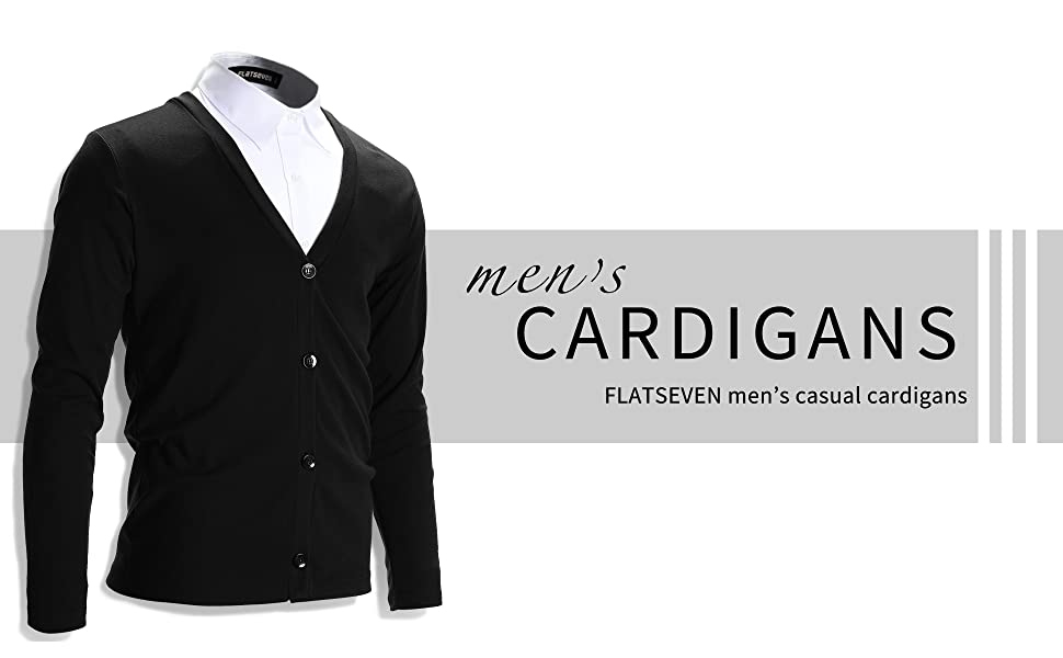 FLATSEVEN Mens Slim Fit Stylish Button up Cardigan