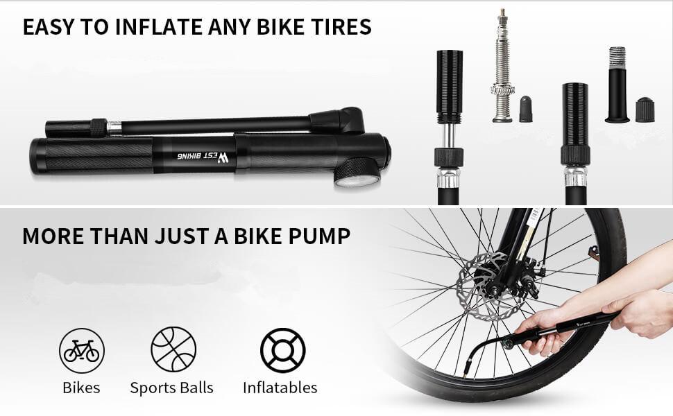 300 PSI Mini Bike Pump With Gauge Road Bicycle Aluminum Alloy High Air Pressure