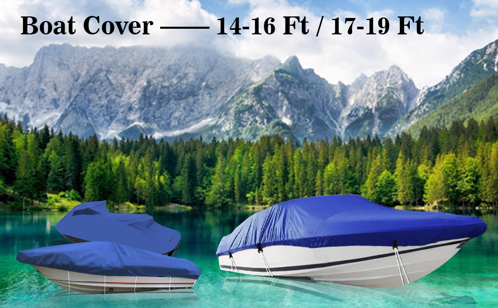 IC ICLOVER Boat Cover 14-16 Ft or 17-19 Ft, 210D Blue