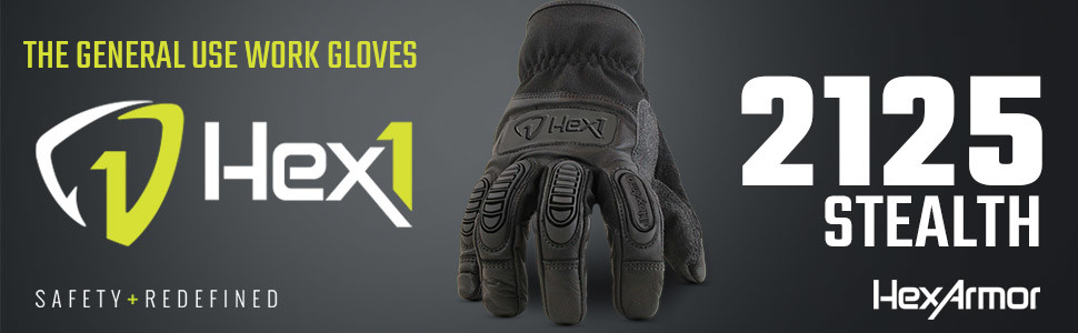 hexarmor hex1 series 2125 black general use work gloves with impact protection on knuckles