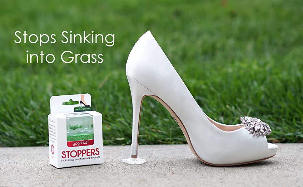 GoGoHeel STOPPERS Heel Protectors on white high heel shoe with packaging and grass background