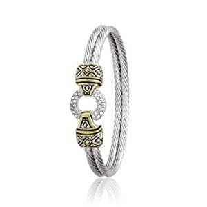 Antiqua Pavè Circle Double Wire Bracelet