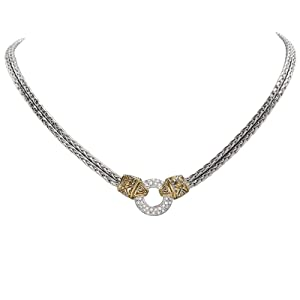Antiqua Pav Circle Double Strand Necklace