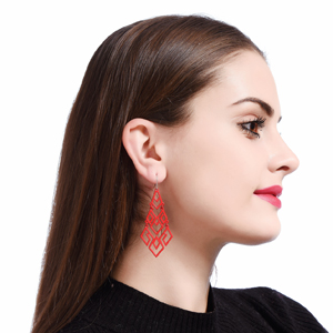 Indian Look Red Chandelier Dangle Drop Earrings for Women