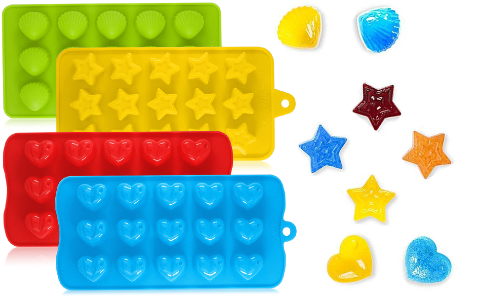 Candy Molds & Silicone Chocolate Mold | Jello & Ice Cube Trays | Set of 4Hearts, Stars, Shells