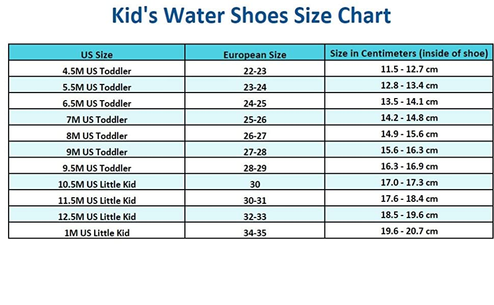Size Chart for Kids Water Shoes