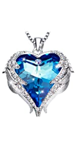 Guardian Wings Crystal Necklace Angel Wings Pendant Birthstone Heart Necklace Jewelry for Women